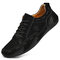 Men Leather Breathable Non Slip Soft Sole Casual Driving Shoes - Black