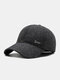 Men Cotton Solid Color Herringbone Pattern Letter Label Ear Protection Windproof Warmth Adjustable Baseball Cap - Gray With Ear Protection