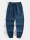 Mens National Style Embroidery Cotton Linen Casual Cuffed Pants - Navy