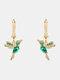 Alloy Cute Micro-set Bird-shape Earrings For Women - Green.