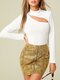 Solid Color Cut Out Long Sleeve Casual Blouse For Women - White