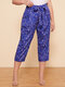 Sea Animals Knotted Plus Size Casual Pants for Women - Purple