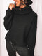 Solid Color High-neck Long Sleeves Casual Sweaters for Women - Black