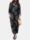 Tree Rings Print Button Long Sleeve Casual Jumpsuit for Women - Black