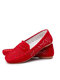 Women Large Size Breathable Hollow Out Comfortable Flat Loafers Shoes - Red