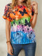 Butterfly Print O-neck Short Sleeve Casual T-Shirt For Women - Orange