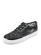 Hollow Flowers Lace Strappy Flat Breathable Sneakers Womens - Black