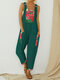 Straps Print Patchwork Loose Jumpsuit For Women - Green