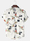 Mens Crane Print Cotton Casual Short Sleeve Shirts With Pocket - White
