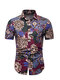 Mens Floral Printing Cotton Breathable Short Sleeve Loose Ethnic Style Casual Shirt  - Blue