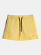 Mens Solid Color Drawstring Pocket Breathable Board Shorts With Lined - Yellow