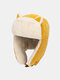 Women Cotton Warm Windproof Ear Protection Cat Ears Shape Outdoor Trapper Hat For Riding Ski - Yellow