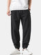 Mens Cotton Linen Vertical Stripe Casual Drawstring Elastic Cuff Pants With Buckles - Black