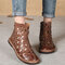 Women Retro Soft Breathable Hollow Out Zipper Flat Ankle Summer Boots - Coffee