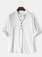 Mens Solid Color High Low Basics Cotton Long Sleeve Henley Shirts - White