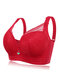 DD Cup Push Up Lace Full Coverage Breathable Bras - Red