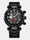 Multifunctional Men Business Watch Luminous Chronograph Calendar Quartz Watch - Black Case Black Dial Black Band