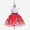 Cartoon Print Toddlers Girls Sleeveless Pageant Princess Party Tulle Dress For 3-11Y - Red