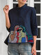 Women Embroidered Button Stand Collar 3/4 Length Sleeves Casual Blouse - Navy