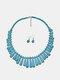2 Pcs Bohemian Turquoise Women Jewelry Set Tassel Beaded Necklace Pendant Earrings - Blue