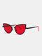 Unisex Metal Cat-eye Small Frame Colorful Lens Anti-UV Sunglasses - #04