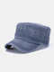 Men Cotton Letters Pattern Embroidery Solid Color Vintage Military Hat - Navy