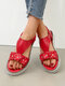Women Flowers Decoration Pattern  Elastic Band Casual Sandals - Red