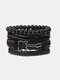 4個の多層レザーメンズブレスレットセット手織りツリーレターレディースビーズブレスレット - #06