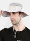 Unisex Outdoor Solid Climbing Fishing Sunshade Adjustable Side Buckle Bucket Hat - Gray