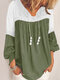 Lace Patchwork V-neck Long SleeveElastic Cuff Casual Blouse - Green