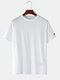 Mens Plain Fruit Embroidered  Breathable O-Neck T-Shirts - White