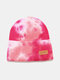 Unisex Core-spun Yarn Knitted Tie-dye Letter Leather Label Fashion Warmth Beanie Hat - #01