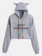 Christmas Letters Print Long Sleeve Casual Hoodie For Women - Gray