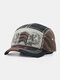 Unisex Cotton Embroidery Pattern Casual Retro Outdoor Sunshade Baseball Hat - Black
