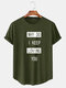 Mens Cotton Slogan Graphics Curved Hem Casual Short Sleeve T-Shirts - Army Green