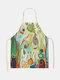木と鳥の絵のパターンのクリーニングColorfulエプロン家庭料理キッチンエプロンクックウェアコットンリネン大人のよだれかけ - #07