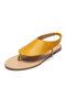 Women Solid Color Simple Elastic Slip On Clip Toe Flat Sandals - Yellow