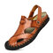 Large Size Men Hand Stithcing Outdoor Soft Non-slip Soft Leather Sandals