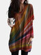 Colorful Tie-dye Print V-neck Long Sleeve T-shirt - Red