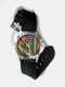 Casual Watercolor Women Wrist Watch PVC Band Leaf Bird Fruit Pattern Men Quartz Watch - #05