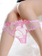Women Floral Embroidered See Through Low Waist Sexy Thongs Lingerie - Pink