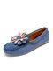 女性の花の装飾手縫いローファーカジュアルフラットシューズの快適なウェアラブルスリップ - 青