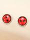 Sweet Alloy Red Sieben-Punkt-Marienkäfer Geometrisch geformte Ohrringe - rot