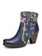 SOCOFY Genuine Leather Flower Embroidered Splicing Comfy Round Toe Wearable Chunky Heel Short Boots - Blue