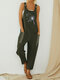 Floral Printed Straps Jumpsuit With Pocket - Army
