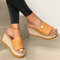 Plus Size Casual Solid Color Open Toe Espadrilles Platform Slippers - Yellow