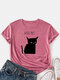 Cat Print O-neck Short Sleeve Casual T-Shirt For Women - Brick Red