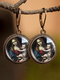 Vintage Round Glass Printed Ear Hooks Alloy Oil Painting Pendant Earrings - #10