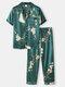 メンズフラワーパターンフェイクシルクリビアカラーホームパジャマセット - 緑