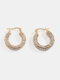 Alloy Ins Personalized Fashion C-shaped Circle All-match Diamond Temperament Earrings - #01